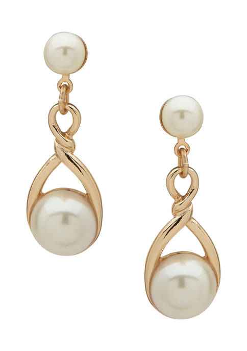 Anne Klein Gold Tone Pearl Twisted Post Linear