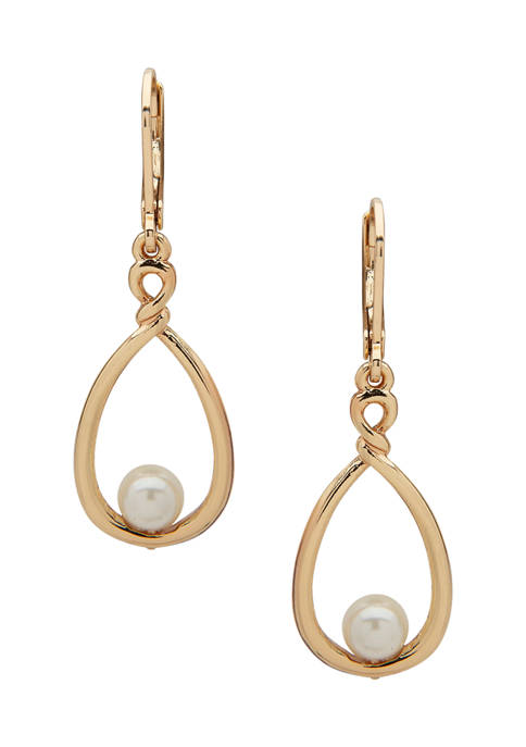 Anne Klein Gold Tone Pearl Twisted Drop Earrings