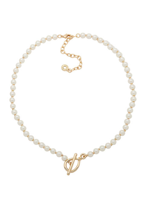 Anne Klein 16 Inch Gold Tone Pearl Twisted