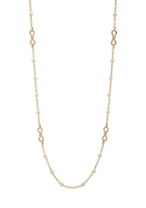 Gold-Tone Pearl Twisted Stations Necklace
