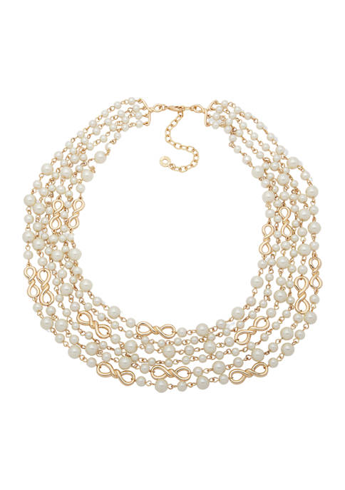 Anne Klein Gold-Tone Pearl Multi-Row Necklace