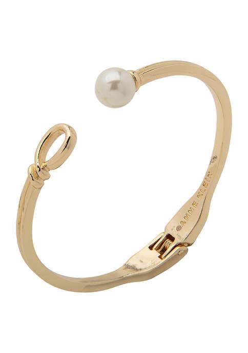 Anne Klein Gold Tone Pearl Twisted Hinge Bracelet