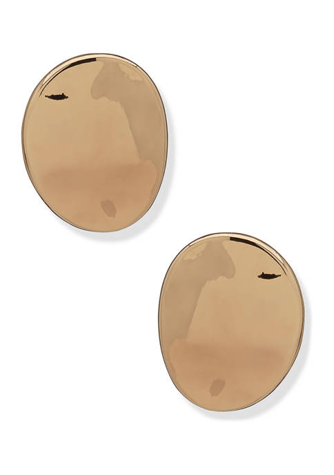 Gold Tone Liquid Metal Button Earrings