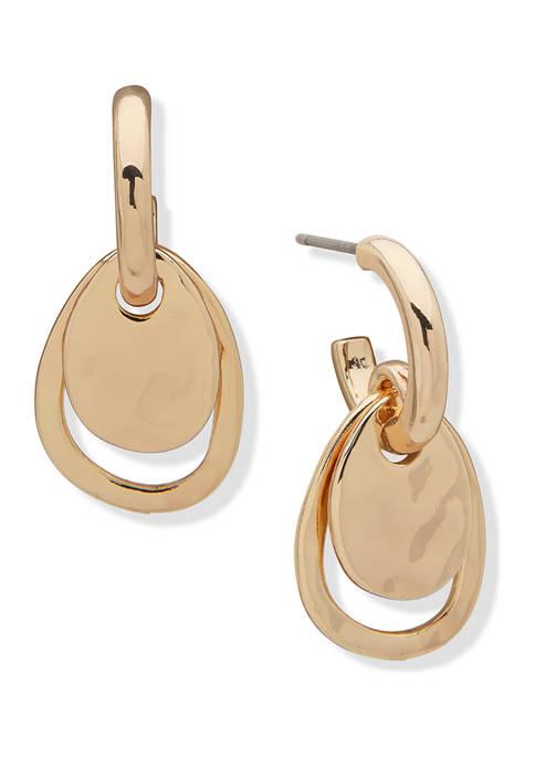 Anne Klein Gold Tone Liquid Metal C Hoop