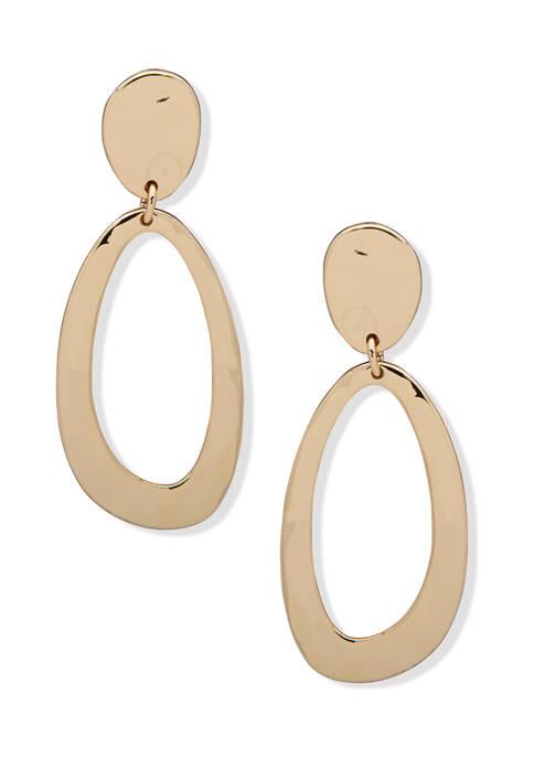 Gold Tone Liquid Metal Double Drop Post Earrings
