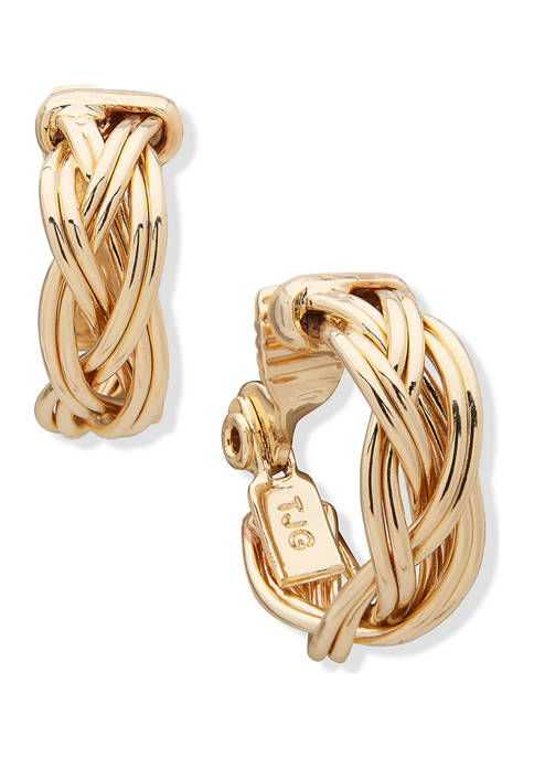 Gold Tone Braided Hoop Clip Earrings