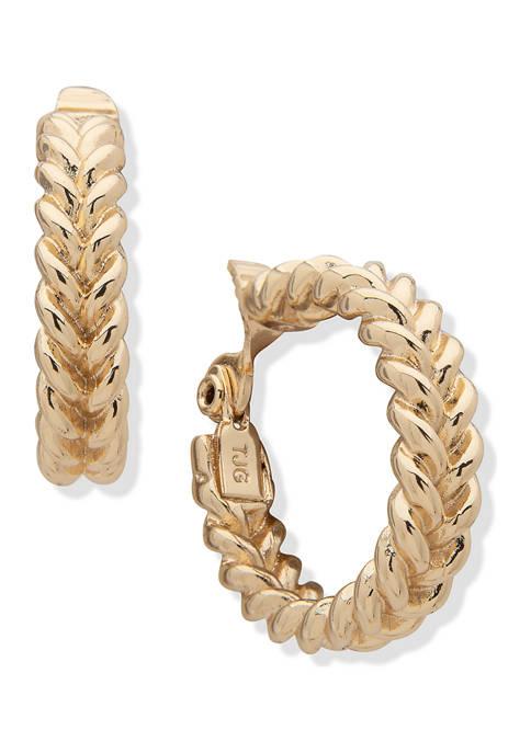 Gold Tone 31 Millimeter Braided Hoop Clip Earrings