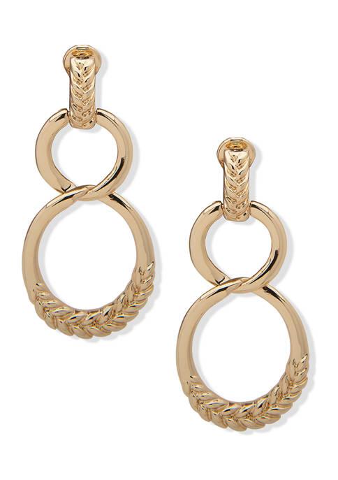 Gold Tone Metal Braid Texture Double Drop Clip Earrings