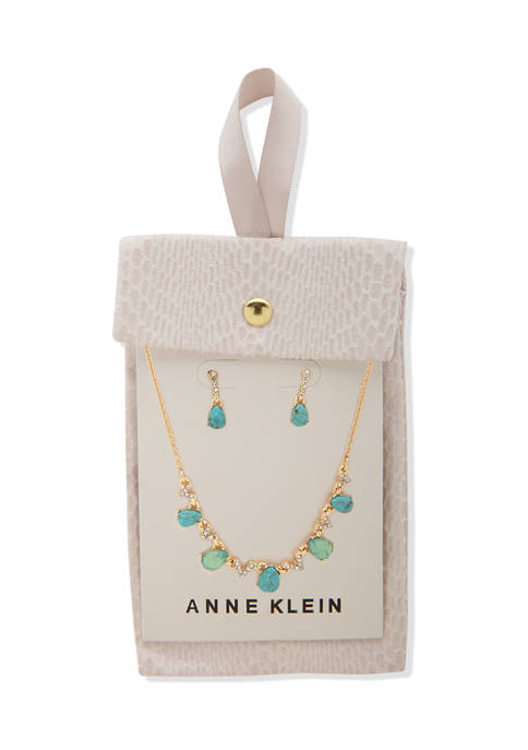 Anne Klein Gold Tone Turquoise Multi Pear Stone
