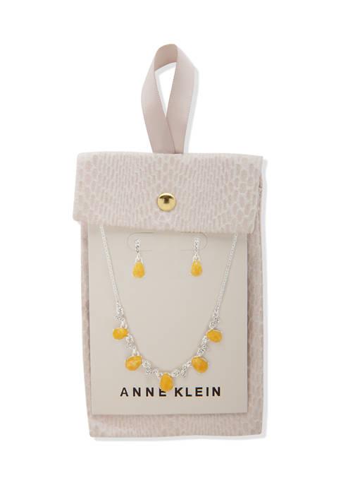 Anne Klein Silver Tone Yellow Multi Pear Stone