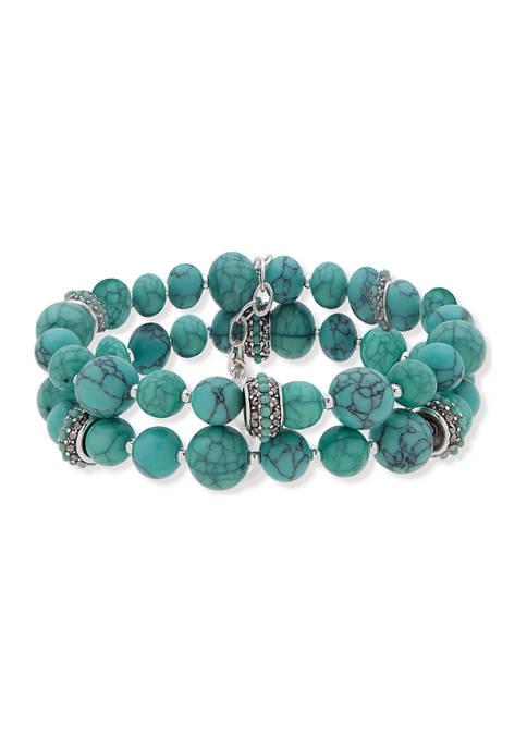 Anne Klein Silver Tone Turquoise Multi 2 Row