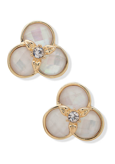 Anne Klein Gold Tone White Mofther-of-Pearl Flower Button