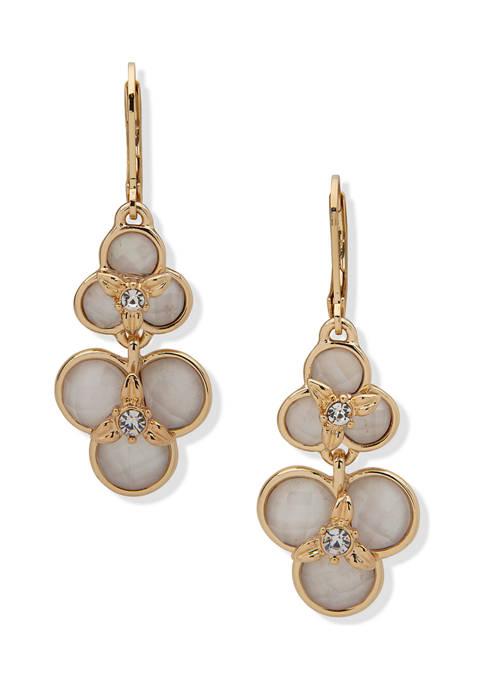 Anne Klein Gold Tone White Flower Double Drop