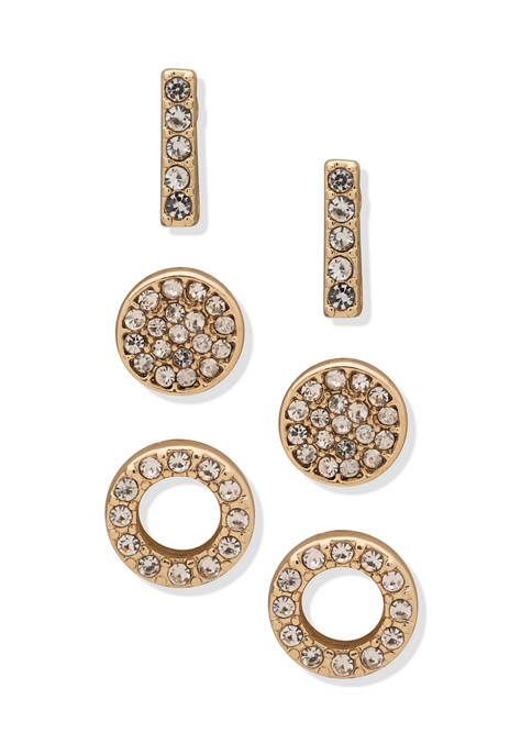 Anne Klein Gold Tone Crystal Trio Pave Stud