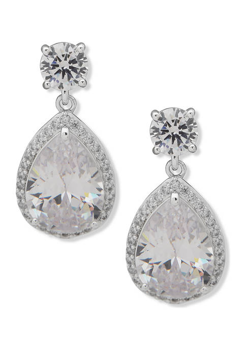 Silver Tone Crystal Round Halo Stud with  Pear Drop Earrings