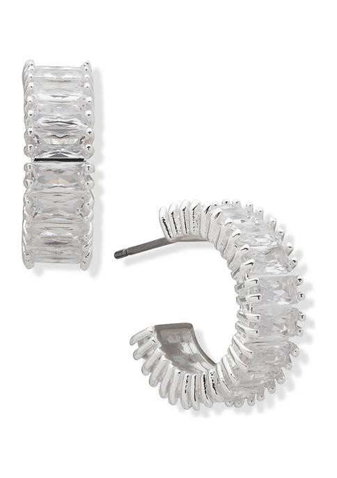 Silver Tone Crystal Baguette Hoop Earrings