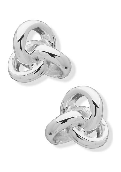 Anne Klein Silver Tone Loose Knot Button Earrings