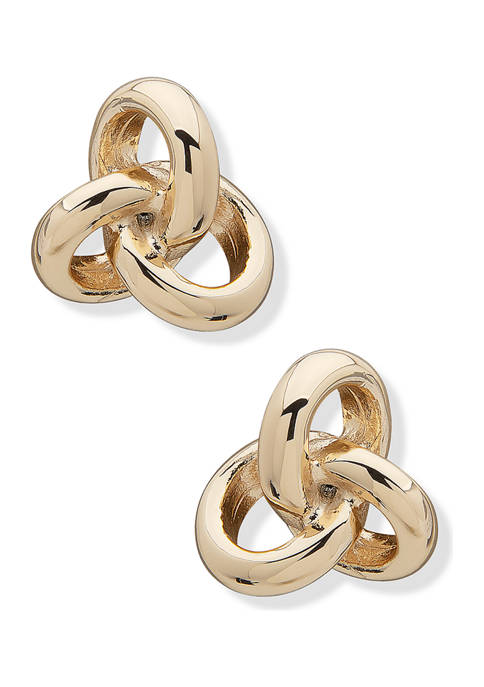 Gold Tone Loose Knot Button Earrings