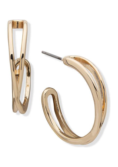 Anne Klein Gold Tone Medium C Hoop Earrings