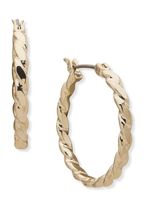 Anne Klein Gold Tone Medium Twisted Hoop Earrings