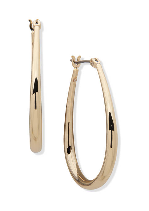 Anne Klein Gold Tone Medium Elongated Tube Hoop