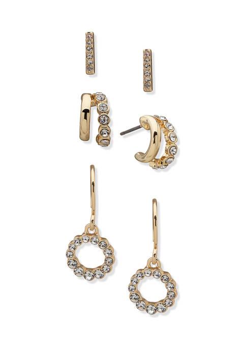 Anne Klein Gold Tone Crystal Stud Hoop Drop