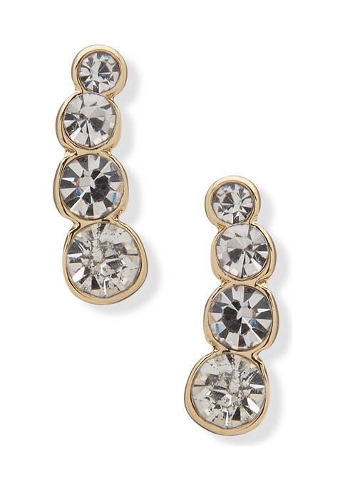 Anne Klein Gold Tone Crystal Ear Crawler Earrings