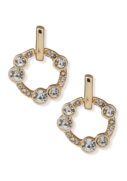 Gold Tone Crystal Doorknocker Button Earrings