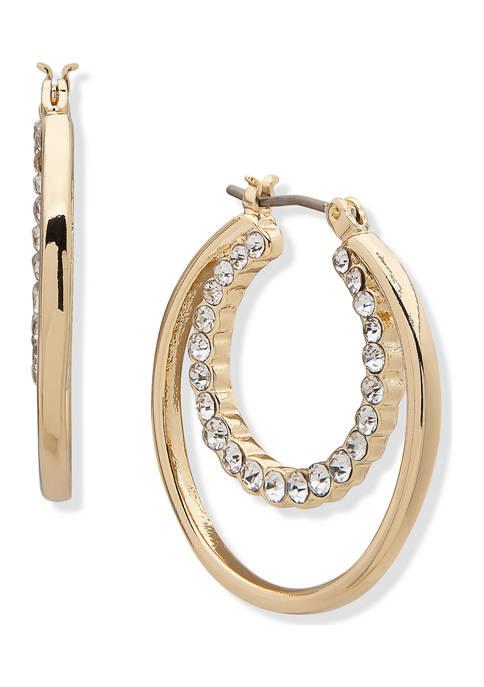 Gold Tone Crystal Hoop Inner Hoop Earrings