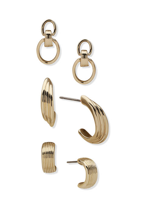 Gold Tone Stud and Hoops Stud Trio Set Earrings
