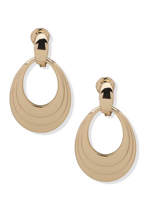 Anne Klein Gold Tone Tiered Doorknocker Clip Earrings