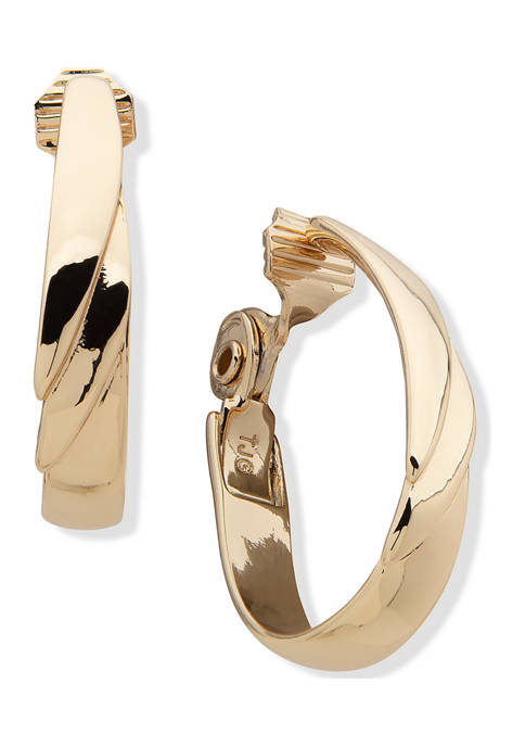 Anne Klein Gold Tone Tiered Hoop Clip Earrings