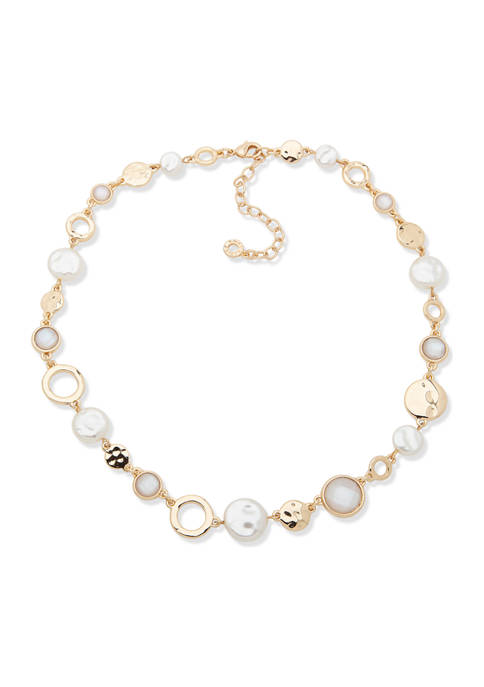 Anne Klein Gold Tone White Mother of Pearl