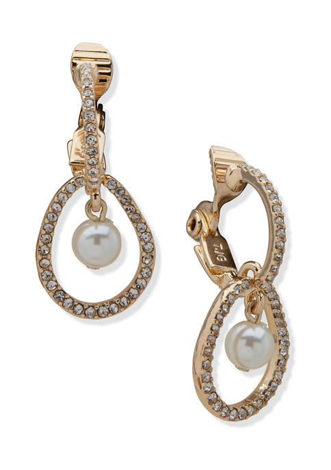 Anne Klein Gold Tone White Pearl Crystal Organic