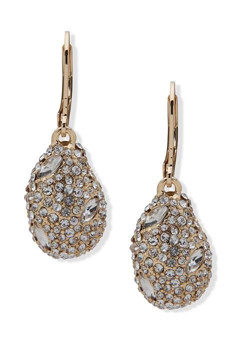 Gold Tone Crystal Pavé Nugget Drop Earrings