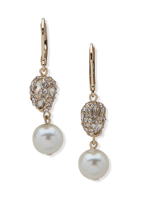 Anne Klein Gold Tone White Pearl Crystal Nugget