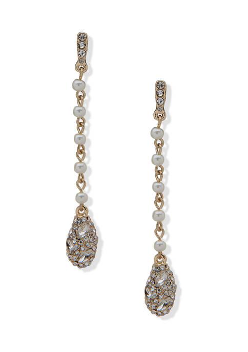 Anne Klein Gold Tone White Pearl Linear Nugget