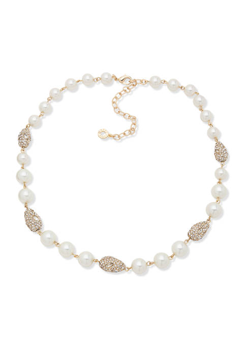 Gold Tone White Pearl 16 Inch Pavé Collar Necklace