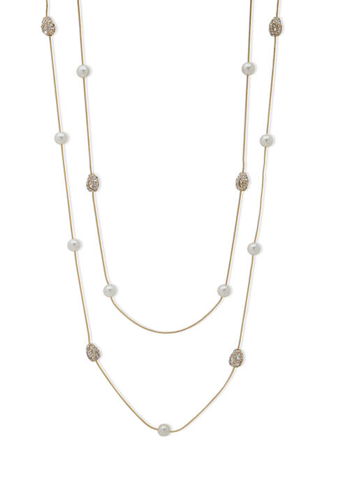 Gold Tone 42 Inch White Pearl Nugget Stationed Strandage Necklace