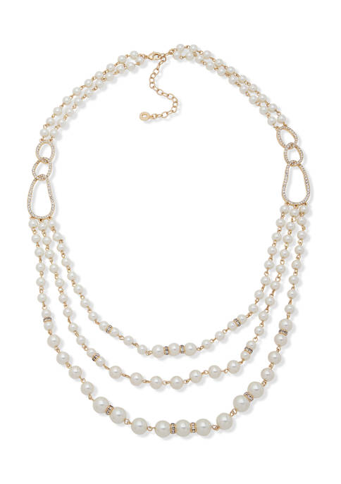 Anne Klein Gold Tone White Pearl 24 Inch