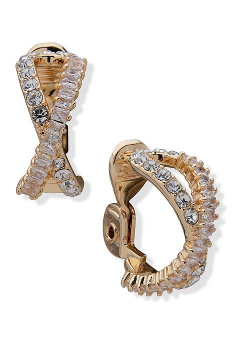 Anne Klein Gold Tone Crystal Pavé Baguette Hoop