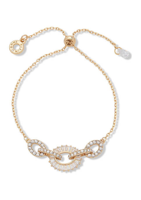 Anne Klein Gold Tone Crystal Pavé Baguette Link