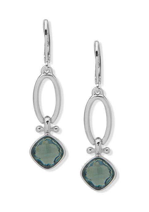 Silver Tone Blue Open Drop Lever Back  Earrings