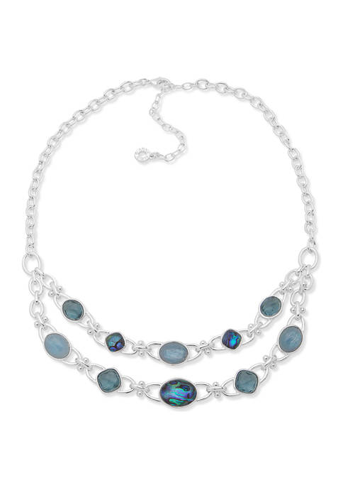 Silver Tone Blue Multi 16 Inch 2 Row Frontal Necklace