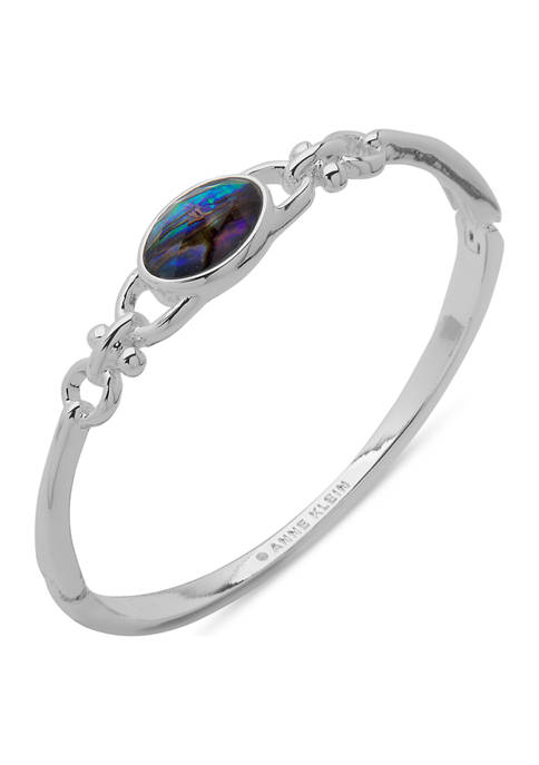 Anne Klein Silver Tone Abalone Hinge Bangle With