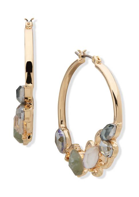 Gold Tone Green Blue Multi Stone Hoop Earrings