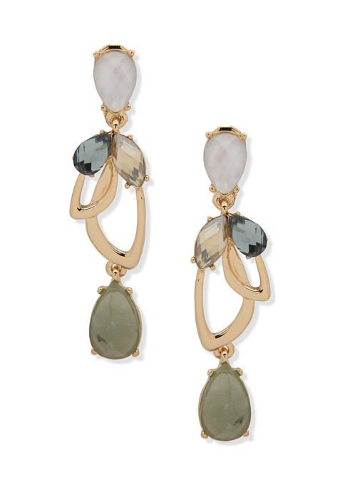 Gold Tone Green Multi Linear Clip Earrings