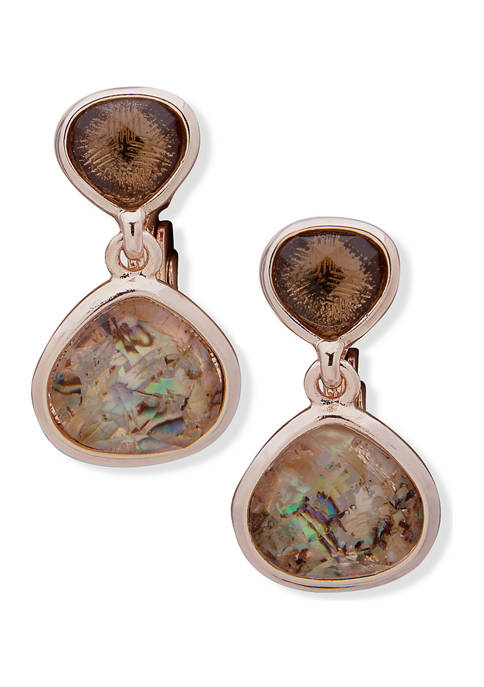 Rose Gold Tone Taupe Multi Double Drop Clip Earrings