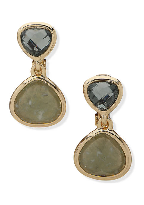 Gold Tone Blue Green Double Drop Clip Earrings