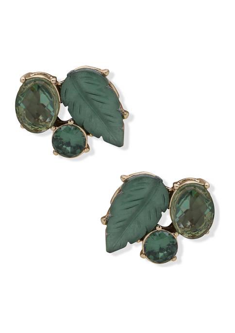 Anne Klein Gold Tone Green Leaf Button Earrings